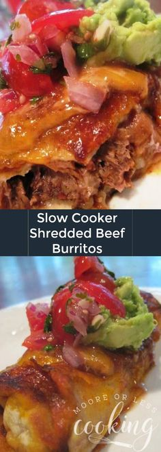 Slow Cooker Shredded Beef Burritos Shredded Beef Burritos, Smothered Beef Burritos, Slow Cooker Shredded Beef, Slow Cooker Beef, Slow Cooker Recipes, Crockpot Recipes, Cooking Recipes, Beef Casserole, Casserole Recipes