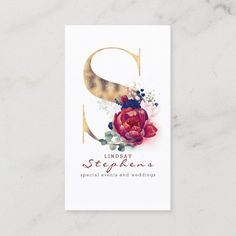 LOVELYWOW studio: products on Zazzle Vintage Business Cards, Gold Business Card, Elegant Business Cards, Custom Business Cards, Business Card Size, Watercolor Business Cards, Hairstylist Business Cards, S Monogram, Burgundy And Gold