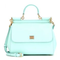 Dolce & Gabbana Miss Sicily Leather Shoulder Bag (24,235 MXN) ❤ liked on Polyvore featuring bags, handbags, shoulder bags, accessories, bolsas, purses, turquoise, blue leather purse, leather purse and dolce&gabbana