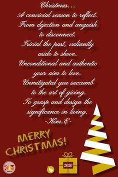 My Christmas gift to you is a poem I wrote. If you happen to read this post and regardless of whether Christmas is a part of your cultural or religious traditions or not, I sincerely wish you and your families: > Love of the unconditional kind > Gratitude for all there is and for all there isn't > Unconditional acceptance and understanding of each unique individual > Trust in the journey and, more importantly, in yourself Acceptance, Creative Writing, Gratitude, Families, Trust, Poems, The Past, Christmas Gifts, Journey