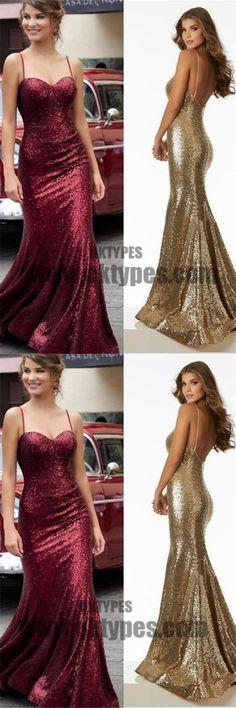 Long Mermaid Prom Dresses, Spaghetti Strap Prom Dresses, Sequin Prom Dresses, Backless Prom Dresses, TYP0220 #promdresses