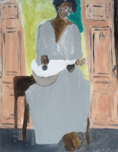 """singer with Mandolin"", Oil on Bookboard 14x11, Gigi Mills @ Gallery Orange"