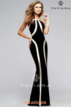 Faviana - Ravishing Jersey Dress with Gold Leather Linear Accent 7785 Pure Couture, Prom Boutiques, Long Black Evening Dress, Faviana Dresses, Fitted Black Dress, Homecoming Dresses, Dress Prom, Party Dress, Dress Collection