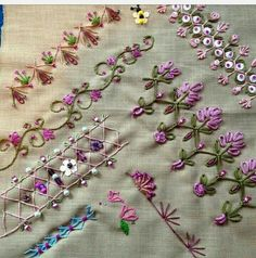 New Crazy Quilting Patterns Patchwork Ideas Embroidery Stitches Tutorial, Embroidery Sampler, Silk Ribbon Embroidery, Hand Embroidery Patterns, Embroidery Techniques, Beaded Embroidery, Cross Stitch Embroidery, Quilting Patterns, Quilting Templates