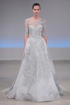 Blue metallic Isabelle Armstrong wedding dress: http://www.stylemepretty.com/2016/10/13/bridal-week-fall-2017-wedding-dress-trends/ Photography: Randy Brooke