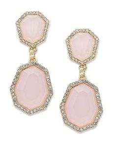 Charter Club Earrings, Gold-Tone Milky Pink Double Drop Earrings - Fashion Jewelry - Jewelry & Watches - Macy's
