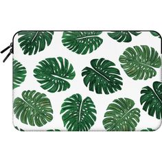 Tropical Green Watercolor Painted  Swiss Cheese Plant Leaves  -... (€55) ❤ liked on Polyvore featuring accessories, tech accessories, bags, cases, clutches, green and macbook sleeve