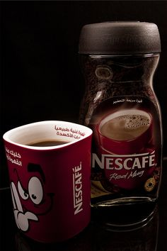 Sunrise Coffee, Red Mug, Nescafe, Start The Day, Food Items, Melk, Dress Sale, Canning, Tableware