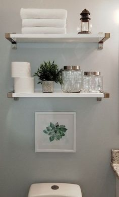 Easy DIY Bathroom Shelves for Storage Solution Shelves .- Easy DIY Bathroom Shelves for Storage Solution . Bathroom Storage Shelves, Bathroom Organization, Organization Ideas, Bathroom Shelves Over Toilet, Storage Ideas, White Bathroom Shelves, Bathroom Shelf Decor, Storage Solutions, Decorating Bathroom Shelves