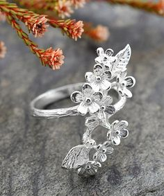 Look at this #zulilyfind! Sterling Silver Forget Me Not Cluster Ring #zulilyfinds