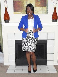 Cobalt blue jacket and black & white skirt