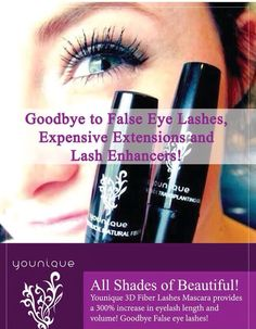 Younique's 3D Fiber Lash Mascara gives you the dramatic look of lash extensions in 3 min without the expense!!  www.youniqueproducts.com/lisamcclees