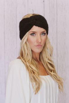 Black Knitted Headband Turband Twist Mohair Ear Warmer (HBK2-01). $28.00, via Etsy.