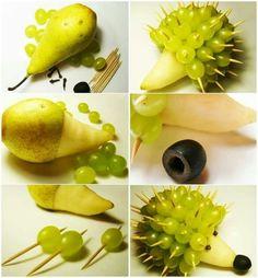 Igel aus Birnen und Trauben sleber machen - Anleitung