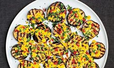 Chargrilled aubergines with saffron yoghurt, parsley and pickled chillies