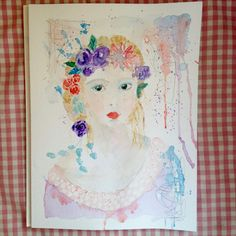 Enough  original watercolour  woman girl mother by JaneHinchliffe