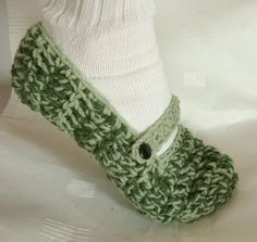 adult womens mary jane slippers in cucumber by daiseychain on Etsy, $18.00