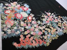 Japanese Kimono Silk Black Tomesode Flower Bird P112923   eBay