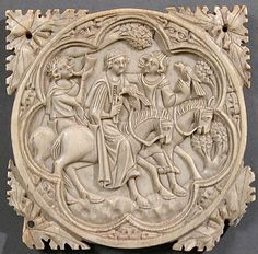 Ivory Mirror Case with a Falconing Party, Ivory, France, circa 1330-1360