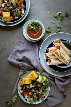 Vegan Toasted Refried Bean Roll Ups / Food styling