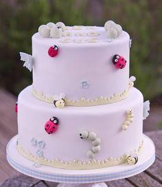 Cute Ladybug Christening Cake