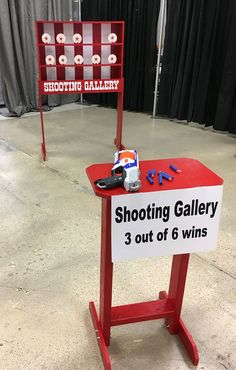 Tabletop Shooting Gallery Carnival Game compatible with Nerf guns. Trade Show, Birthday, Church, VBS