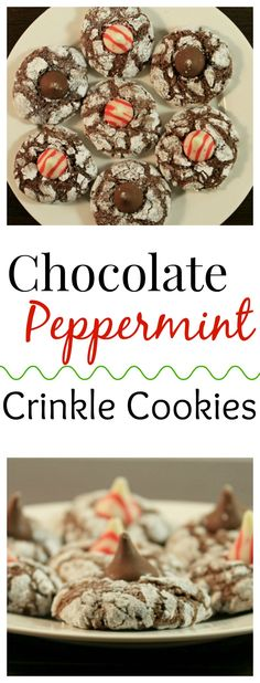 Chocolate Peppermint Crinkle Cookies- a chewy chocolate cookie topped with peppermint kisses,a perfect festive cookie for your goodie trays!