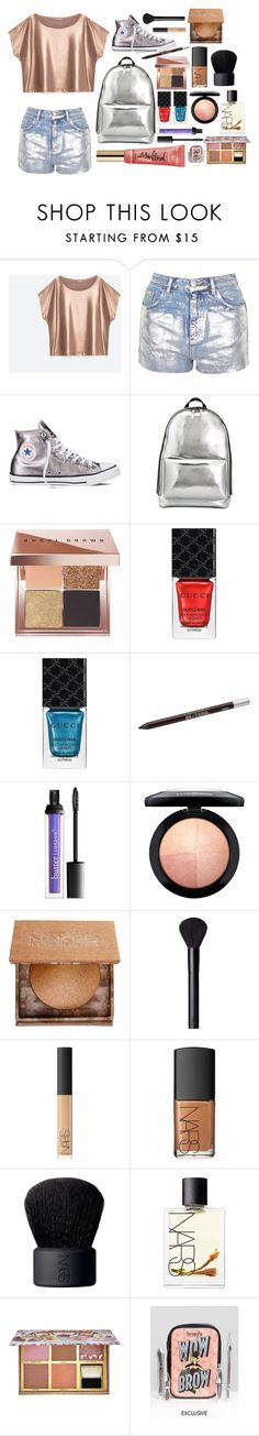 """""""Mad for metallic"""" by korivelasco ❤ liked on Polyvore featuring Topshop, Converse, 3.1 Phillip Lim, Bobbi Brown Cosmetics, Gucci, Urban Decay, Too Faced Cosmetics, MAC Cosmetics, NARS Cosmetics and Benefit"""