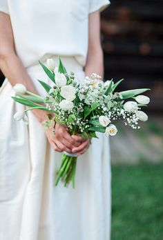 Spring Wedding Bouquets with Tulips: All-White Tulip Bouquet with Thistle and Baby's Breath