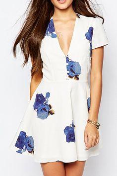 Floral Print V-Neck Short Sleeve Dress