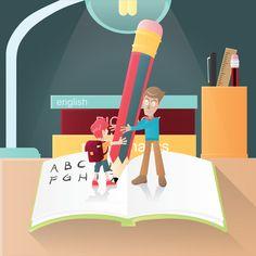 Teacher teaching a boy stock vector , General Crafts, Modern Graphic Design, Grammar, Family Guy, Teacher, Clip Art, Maths, Education, Illustration