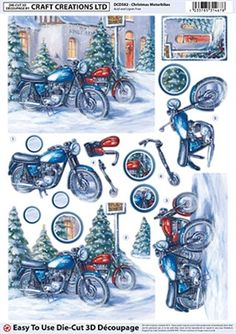 Craft Creations Die Cut Decoupage Christmas Motorbikes