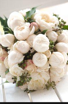 White peonies always hair makeup pinterest white peonies a beautiful bridal bouquet of white peonies mightylinksfo