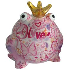 Pomme Pidou Love and Peace Frog Animal Money Bank - Light Pink