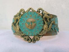 Sun with Chimeras Verdgris Blue Green distressed Patina brass Cuff by steamheat on Etsy