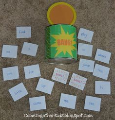 1. Players take turns reaching into the container and pulling out a flashcard. If they can read the word aloud correctly, they get to keep the card. If the player is incorrect, the card goes back into the container.    2. Continue taking turns, reading and collecting correctly answered cards.    3. If you pull out a BANG! card, you must put your whole pile of cards back into the container!