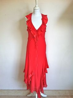 Maria Grazia Severi Long Red Silk Blend Ruffle Dress Size 42 via The Queen Bee. Click on the image to see more!