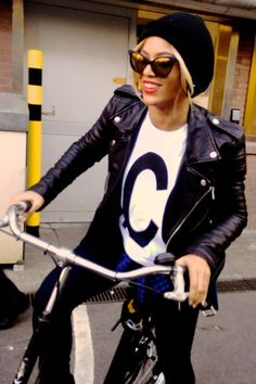 Beyonce Knowles Bike Riding in Amsterdam March 2014