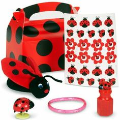 Amazon.com - Ladybug Fancy Party Favor Box Party Accessory - Childrens Party Supply Packs