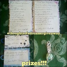Here are the #thoughtsofadreamergiveaway prizes!!! 1) Two original hand-written with quill poems by me (top two) 2) Two custom bookmarks with quotes from Jane Austen and Edgar Allen Poe (bottom left) 3) Custom Jade wrapped pendant that I wrapped myself (bottom right) All are made by me except for the quotes of course  Winner will be chosen at random when i hit 600 followers and receive these items in the mail. See previous post on how to enter ___ #poem #poetry #poetrycommunity…