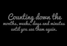Counting down the months, weeks, days and minutes until you see them again. Usmc Love, Marine Love, Navy Life, Navy Mom, Proud Army Girlfriend, Navy Quotes, Airforce Wife, Air Force Mom, Military Wife