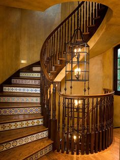 Tile Risers Home Design Ideas, Pictures, Remodel and Decor Tiled Staircase, Stairs, Staircases, Moorish Revival, Wood Partition, Stair Well, Spanish Revival, Entryway, House Design
