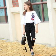 Cheap girl clothes set, Buy Quality girls set directly from China clothes girls Suppliers: Girls Clothes Sets Summer 2017 Kids Clothes Girls Sets Teens T-Shirt with Denim Pants 2pcs Clothing Set Age 8 10 12 15 Years old