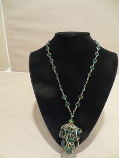 VTG Schiaparelli Necklace  in emerald green crystals silver tone filigree tassel #Schiaparelli