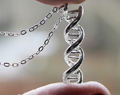 DNA Charm Necklace - Science Necklace - Double Helix Charm Genetics Molecule Pendant found on etsy