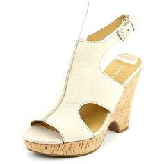 Franco Sarto Glamour Women Wedge Sandals ($32) ❤ liked on Polyvore featuring shoes, sandals, ivory, ivory sandals, ivory wedge sandals, leather wedge shoes, synthetic shoes and wedge heel sandals