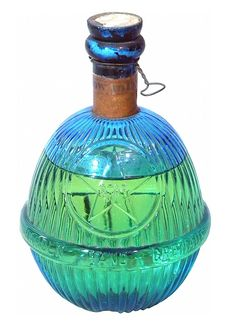 Star Glass Fire Grenade. HARDEN HAND GRENADE. Blue glass with original seal. 8 inches tall