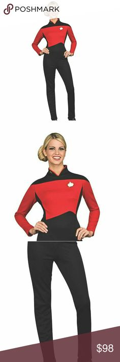 NWT HALLOWEEN COSTUME STAR TREK PANT SET S Deluxe Star Trek Halloween costume, command the whole space crew! Star Trek is still a popular fandom, so why not dress up as a commander and impress your trekkie friends? This costume will help you live long and prosper at your next Halloween party. Star Trek™.  Polyester. Adult Small fits sizes 6-10. Includes: • Jumpsuit  • Communicator Pin and neck pin  Will not be modeled Pants Straight Leg