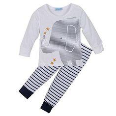 Clothing set baby boy clothes cartoon baby clothing baby elephant Long sleeve Tops + Stripe Pants clothes set