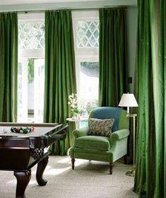 Green silk drapes in room. #greensilk #silkcrtains #curtains #cushions #decor #designdrapes #drapery Contemporary Games, Mary Mcdonald, Grey Interior Design, Green Furniture, Green Curtains, Billiard Room, Custom Curtains, Bedroom Green, Game Room